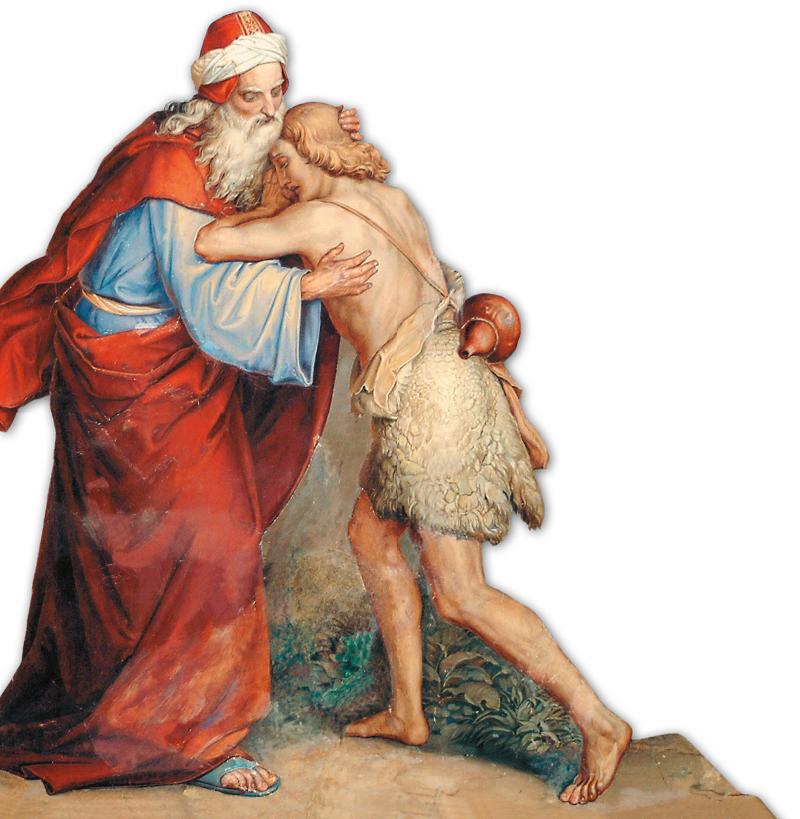 Il padre, preso dall'emozione, lo abbraccia e lo copre di baci